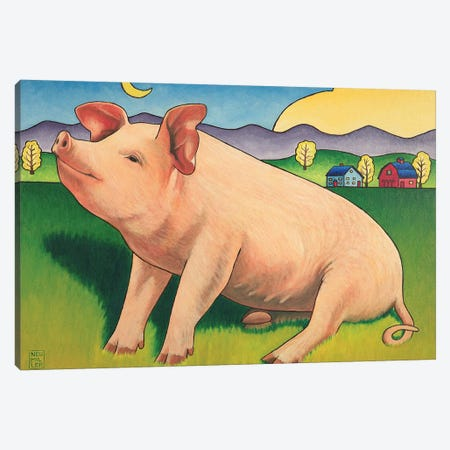 Some Pig Canvas Print #SNM91} by Stacey Neumiller Canvas Wall Art