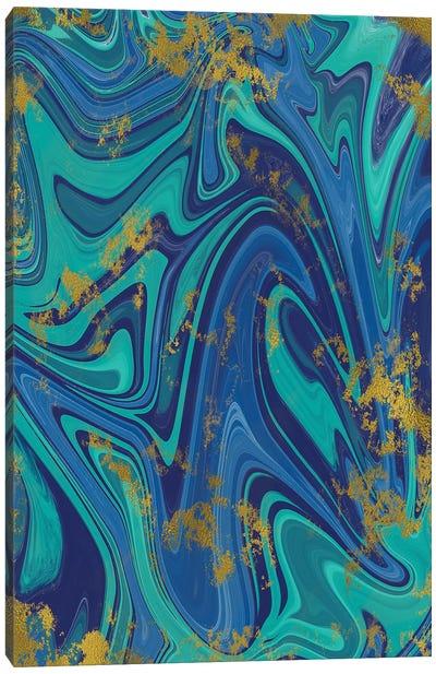 Gold Foil Blue Marble I Canvas Art Print