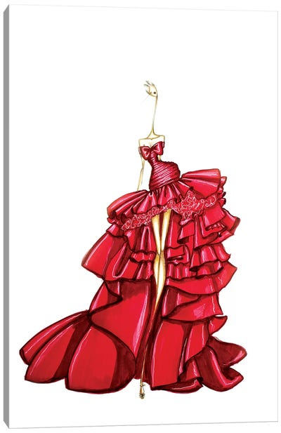 Giambattista Valli Red Canvas Art Print