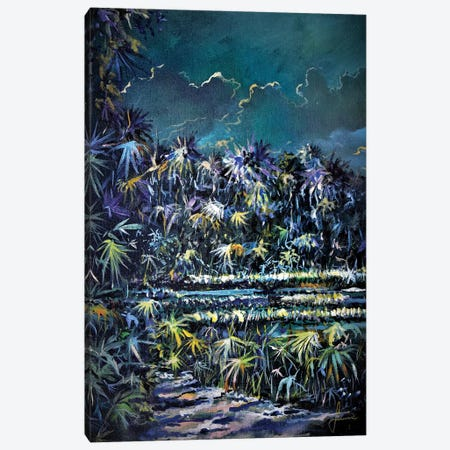 Midnight Palms Canvas Print #SNS111} by Sinisa Saratlic Canvas Art