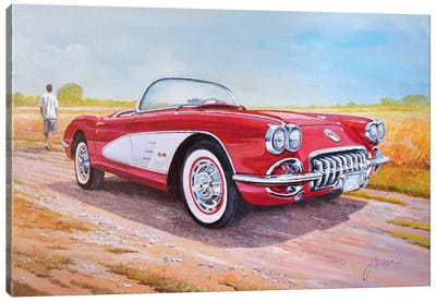 1959 Chevrolet Corvette Cabriolet Canvas Art Print