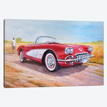 1959 Chevrolet Corvette Cabriolet Canvas Print #SNS6} by Sinisa Saratlic Canvas Print