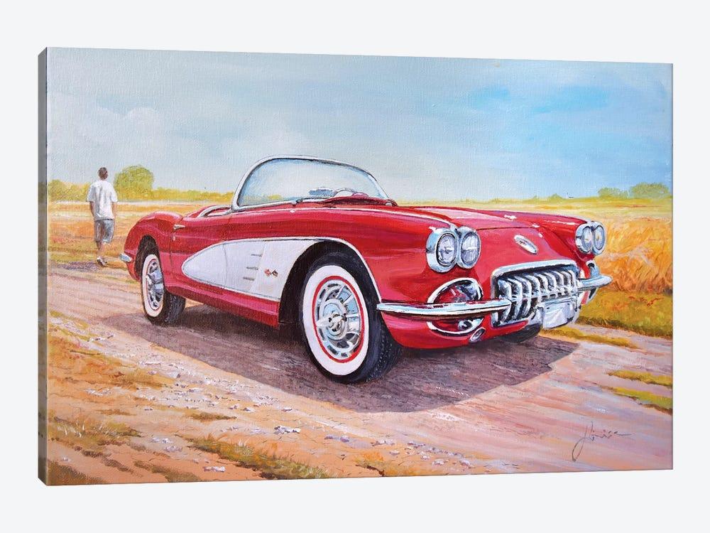 1959 Chevrolet Corvette Cabriolet by Sinisa Saratlic 1-piece Art Print