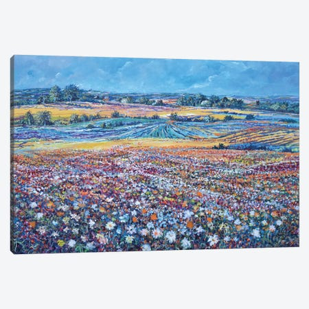 Flower Field Canvas Print #SNS72} by Sinisa Saratlic Canvas Wall Art