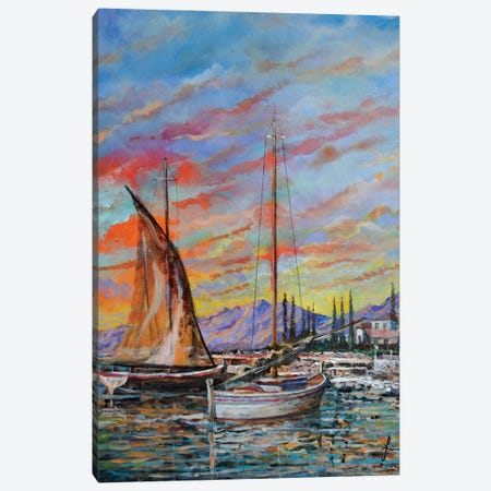 Boats Canvas Print #SNS81} by Sinisa Saratlic Art Print
