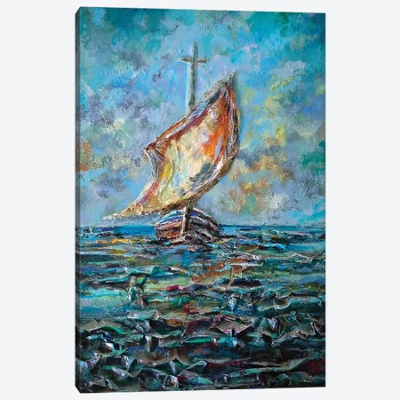 Sailing Boat Canvas Print #SNS87} by Sinisa Saratlic Canvas Artwork