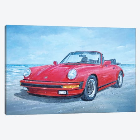1988 Porsche 911 Carrera Cabriolet Canvas Print #SNS90} by Sinisa Saratlic Canvas Wall Art