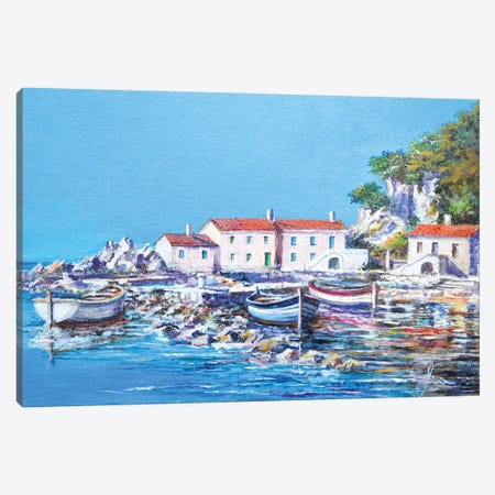 Blue Bay Canvas Print #SNS94} by Sinisa Saratlic Canvas Print
