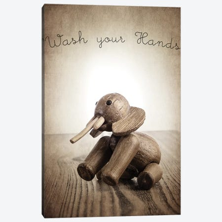 Zooline Elephant Wash Your Hands Canvas Print #SNT109} by Saint and Sailor Studios Canvas Artwork