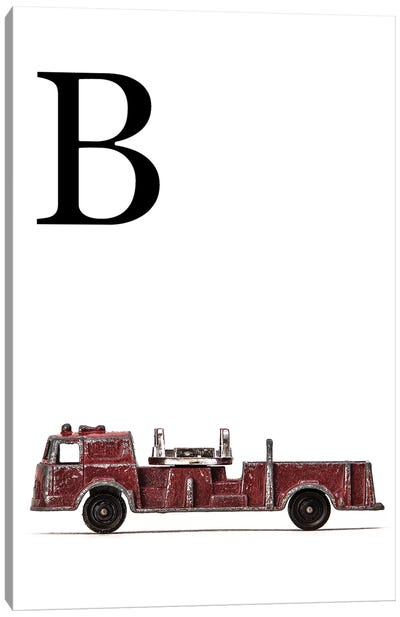 B Fire Engine Letter Canvas Art Print