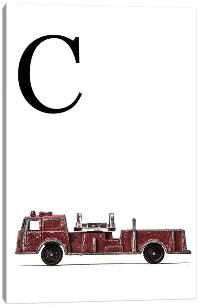 C Fire Engine Letter Canvas Art Print