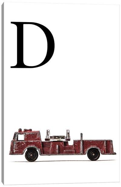 D Fire Engine Letter Canvas Art Print