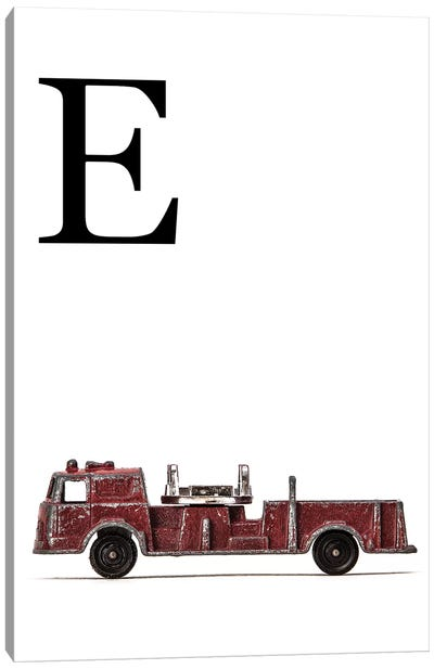E Fire Engine Letter Canvas Art Print