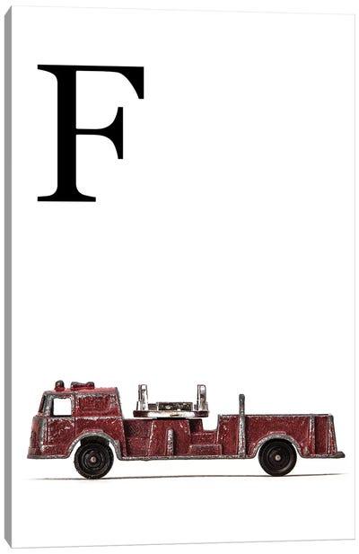 F Fire Engine Letter Canvas Art Print