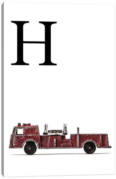 H Fire Engine Letter Canvas Art Print