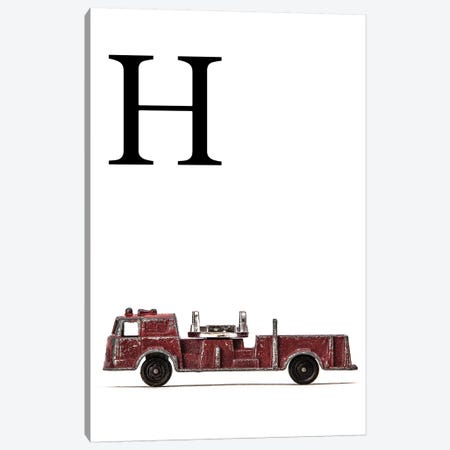 H Fire Engine Letter Canvas Print #SNT120} by Saint and Sailor Studios Canvas Wall Art