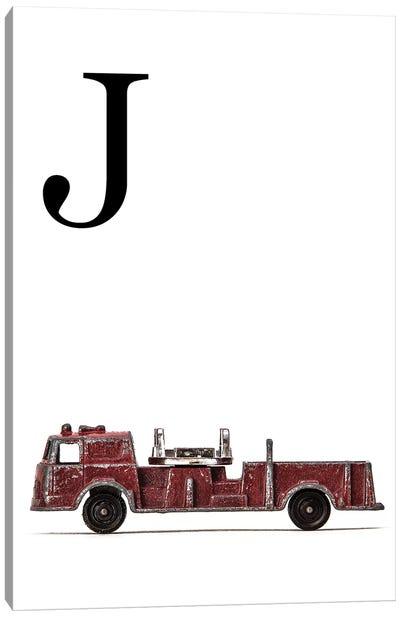 J Fire Engine Letter Canvas Art Print