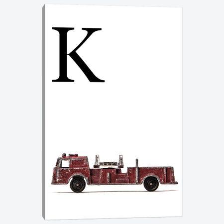 K Fire Engine Letter Canvas Print #SNT123} by Saint and Sailor Studios Canvas Art