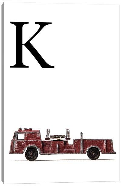 K Fire Engine Letter Canvas Art Print