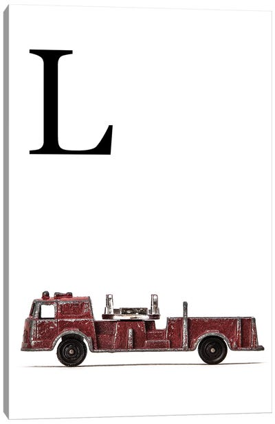 L Fire Engine Letter Canvas Art Print
