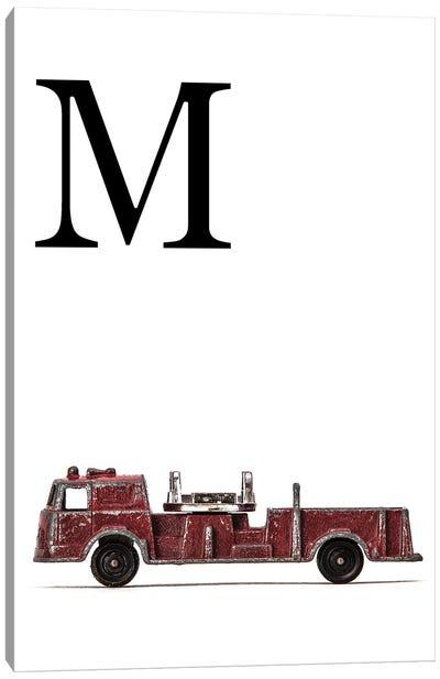 M Fire Engine Letter Canvas Art Print
