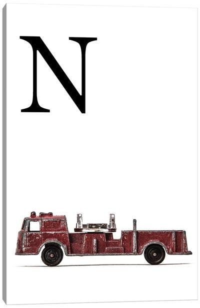 N Fire Engine Letter Canvas Art Print