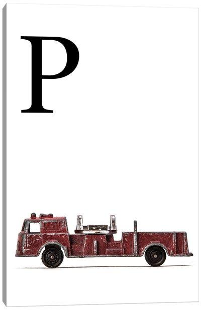 P Fire Engine Letter Canvas Art Print