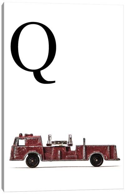Q Fire Engine Letter Canvas Art Print