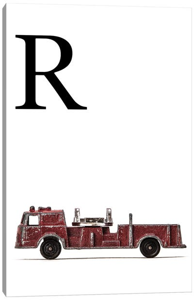 R Fire Engine Letter Canvas Art Print