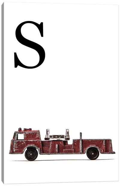 S Fire Engine Letter Canvas Art Print