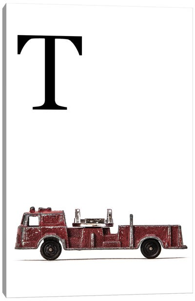 T Fire Engine Letter Canvas Art Print