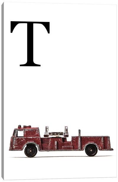 T Fire Engine Letter Canvas Art Print
