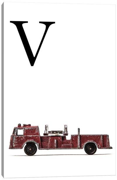 V Fire Engine Letter Canvas Art Print