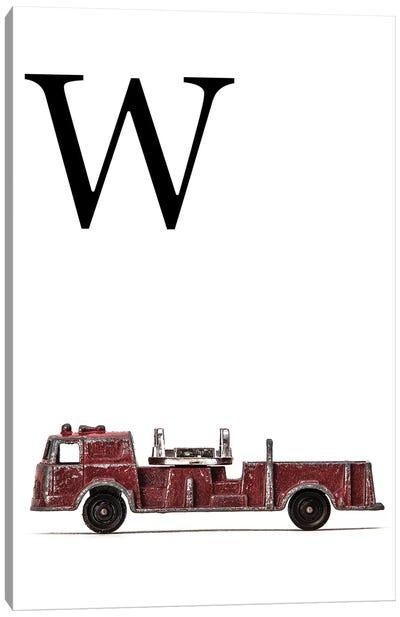W Fire Engine Letter Canvas Art Print