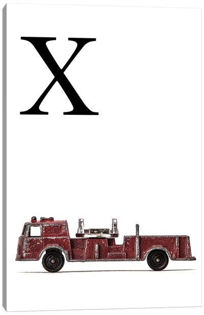 X Fire Engine Letter Canvas Art Print