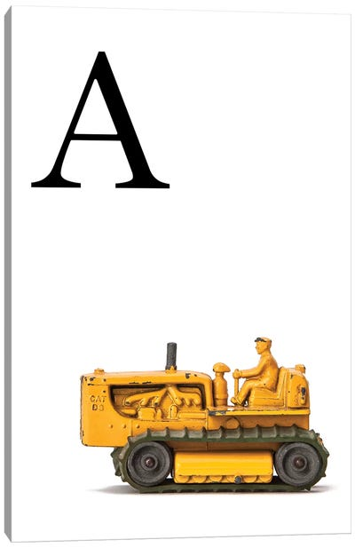 A Bulldozer Yellow White Letter Canvas Art Print