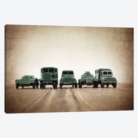 Army Truck Lineup Canvas Print #SNT13} by Saint and Sailor Studios Canvas Print
