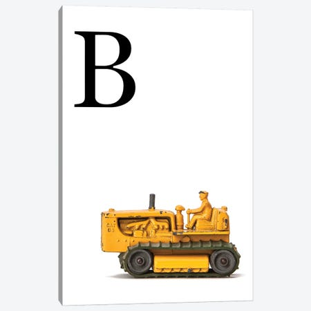 B Bulldozer Yellow White Letter Canvas Print #SNT140} by Saint and Sailor Studios Canvas Art