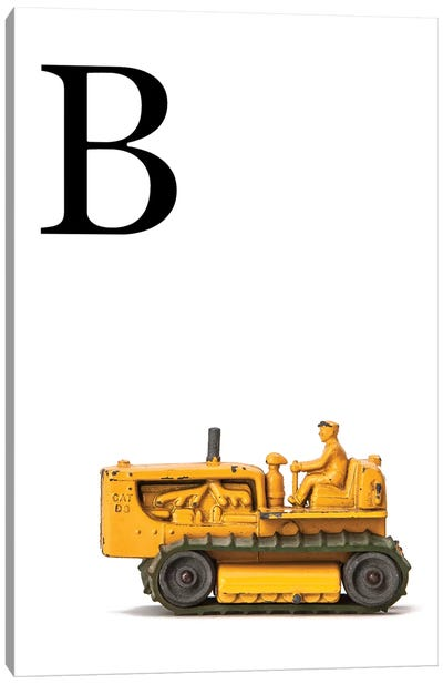 B Bulldozer Yellow White Letter Canvas Art Print