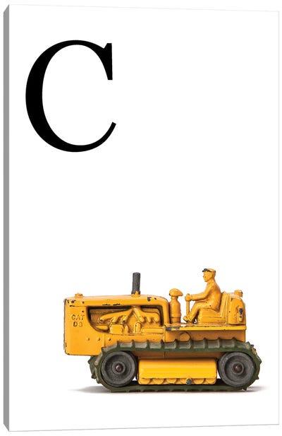 C Bulldozer Yellow White Letter Canvas Art Print