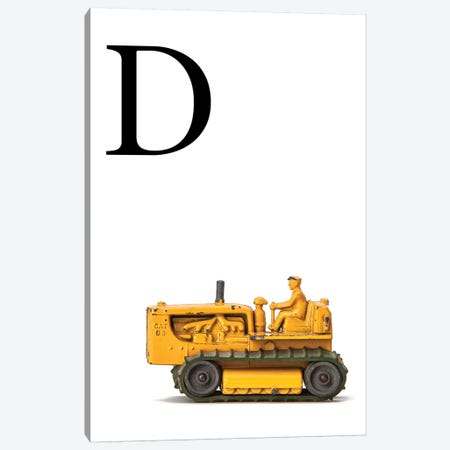 D Bulldozer Yellow White Letter Canvas Print #SNT142} by Saint and Sailor Studios Canvas Wall Art