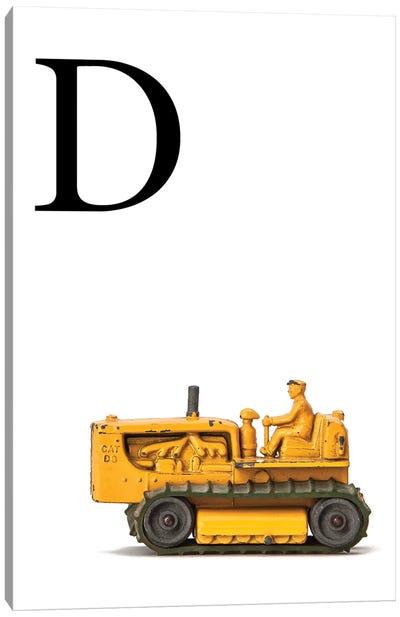 D Bulldozer Yellow White Letter Canvas Art Print