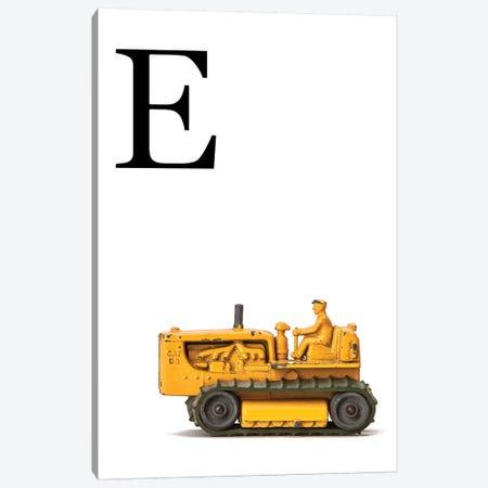 E Bulldozer Yellow White Letter Canvas Print #SNT143} by Saint and Sailor Studios Canvas Artwork
