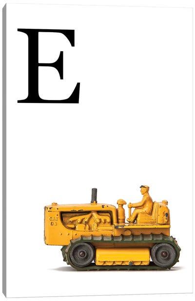E Bulldozer Yellow White Letter Canvas Art Print