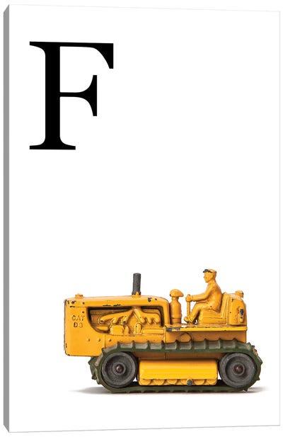 F Bulldozer Yellow White Letter Canvas Art Print