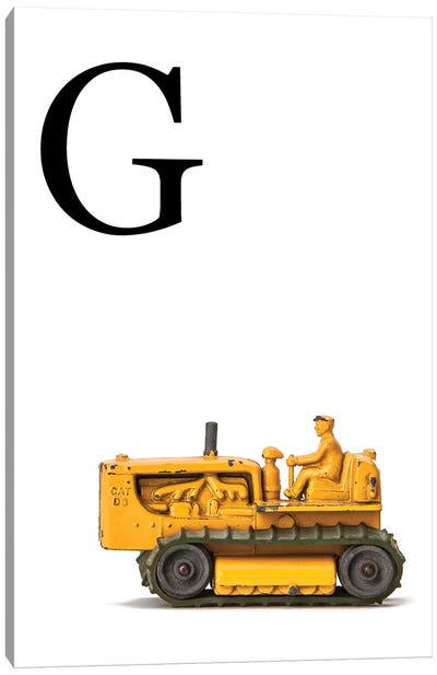 G Bulldozer Yellow White Letter Canvas Art Print