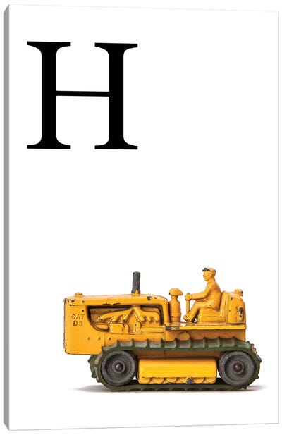 H Bulldozer Yellow White Letter Canvas Art Print