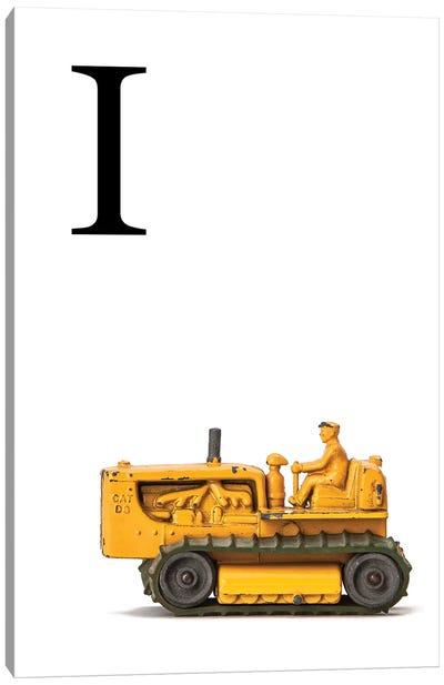 I Bulldozer Yellow White Letter Canvas Art Print