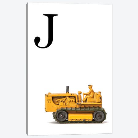 J Bulldozer Yellow White Letter Canvas Print #SNT148} by Saint and Sailor Studios Canvas Wall Art