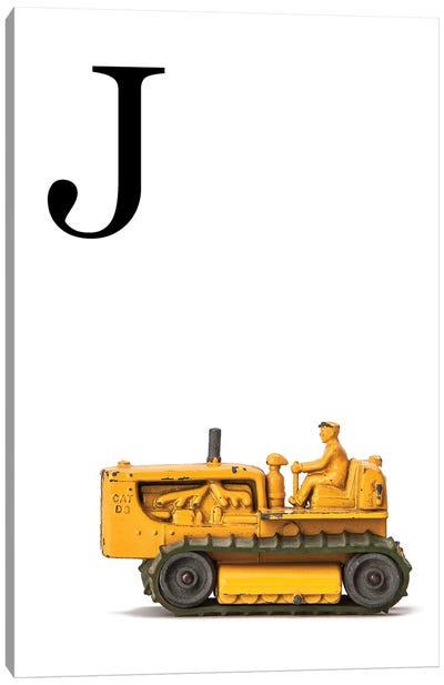 J Bulldozer Yellow White Letter Canvas Art Print